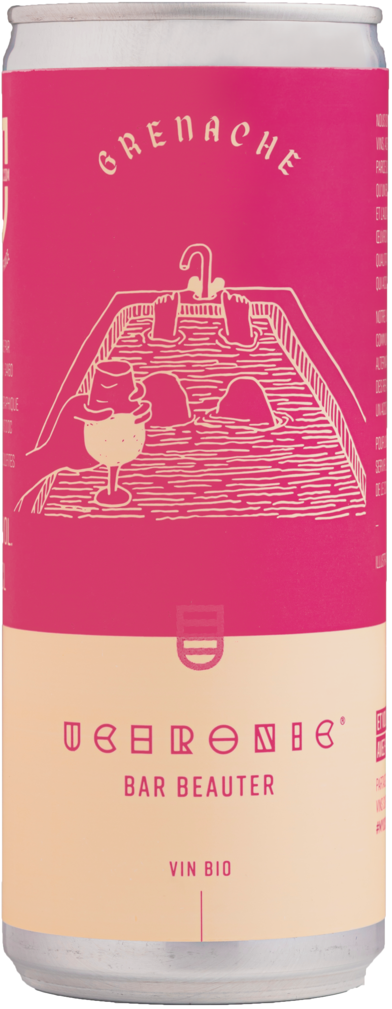 vin rosé en canette. Grenache issus de l'agriculture biologique. Canette rose vif.