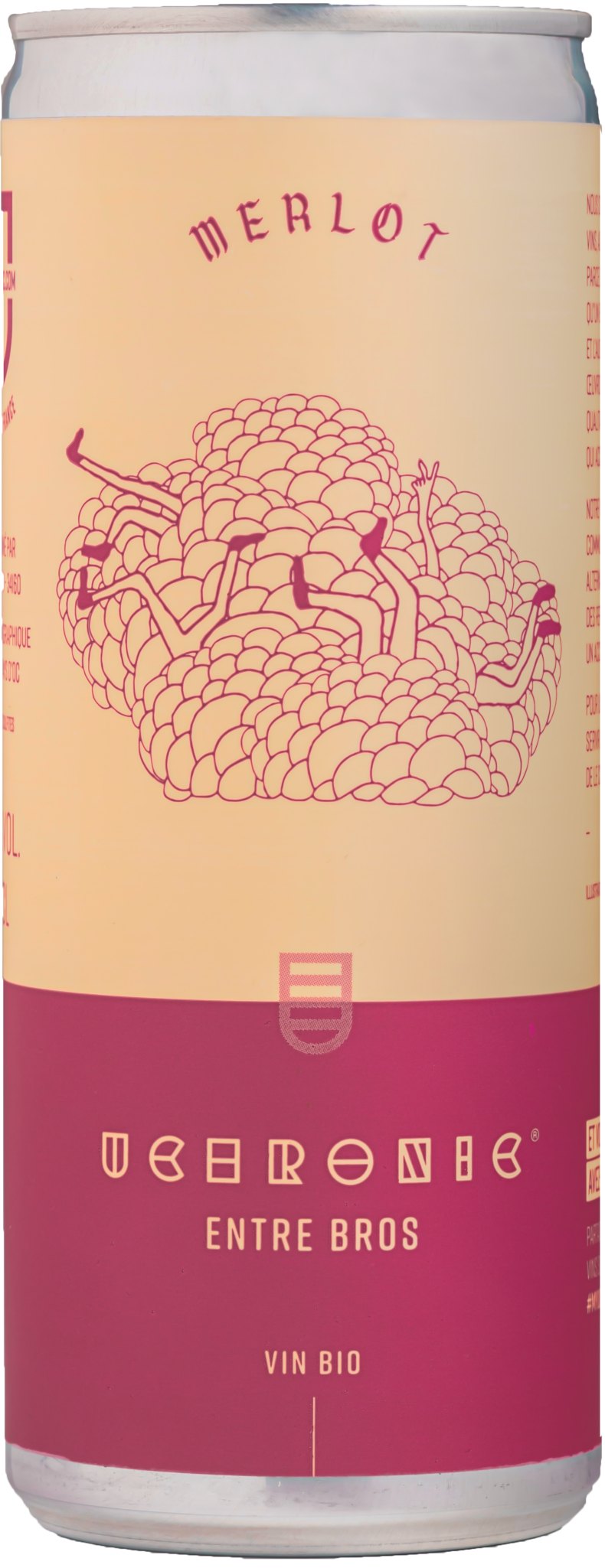 vin rouge en canette. Merlot bio dans une canette.